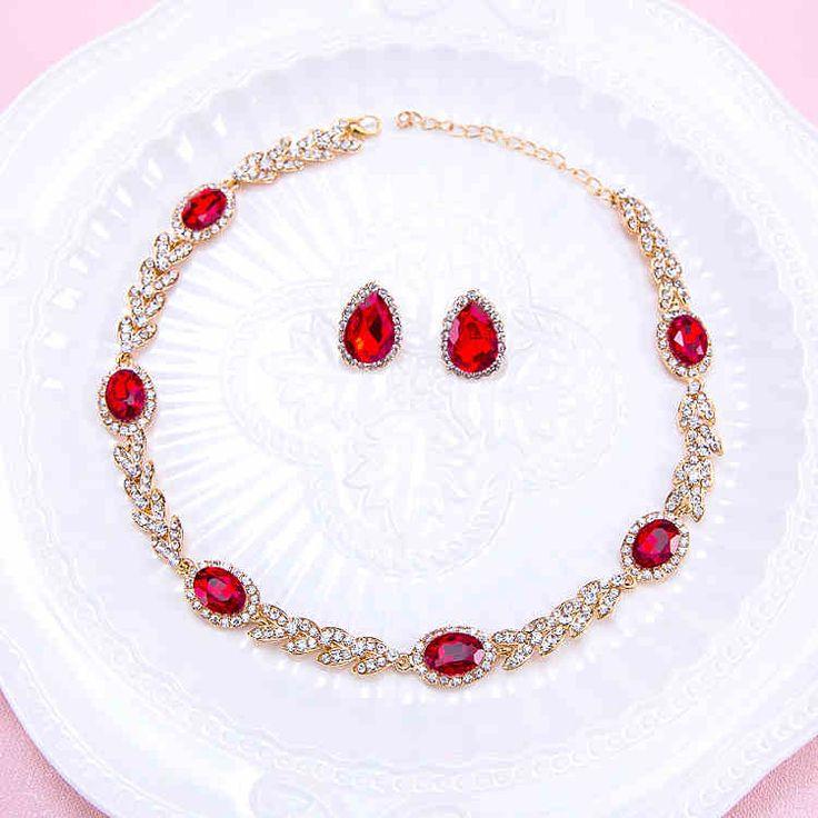 Bonito Vermelho E Branco CZ Diamante Grande Casamento Colar Brincos De Noiva Conjuntos De Joias Para Noivas Festa