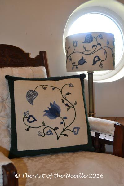 Crewelwork Winter Tendrils Cushion and Lampshade together - available either as a kit or embroidered by The Art of the Needle. http://etsy.me/2cYZtOL