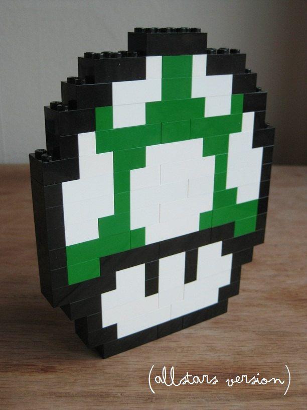 LEGO custom kit: Super Mario Bros 3 1up mushroom. $15.00, via Etsy.
