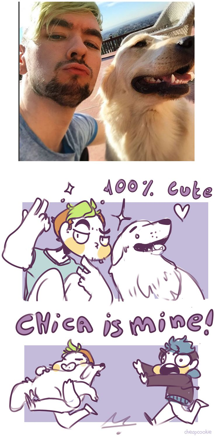 Jacksepticeye, Chica, and Markiplier