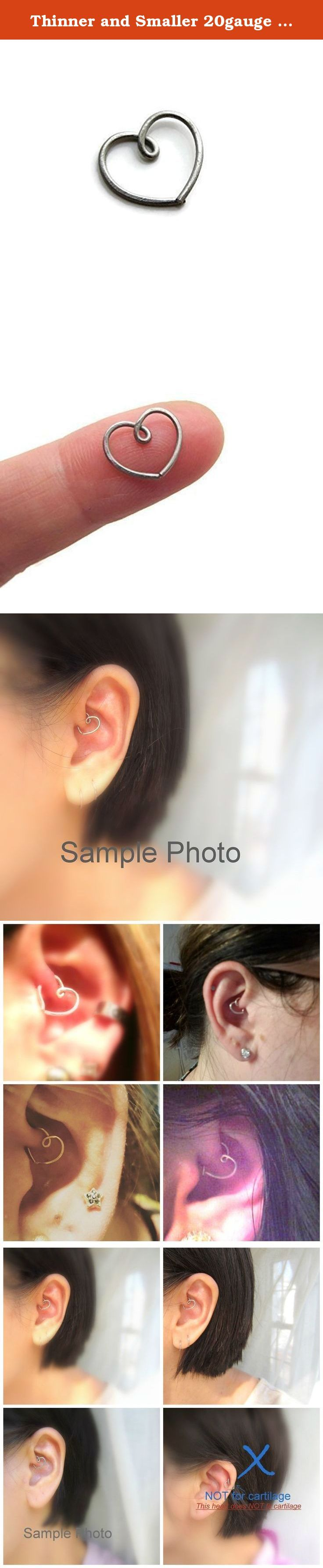 """Thinner and Smaller 20gauge size Nickel Free Solid Titanium Heart Earring for Daith Piercing One ( 1 ) Single. - For Your Single Piercing - This One ( 1 ) Single Heart is the Top of the line """" Grade 1 Level """", Nickel Free Solid Titanium Heart Earring ( Natural Non-Shiny Grey ). - The Best. The Safest for Very Sensitive Ear & for people with nickel & metal allergy. - Tested & recommended by people who prefer pure metals & really wanted a surgical/or/medical grade Titanium Earring…"""