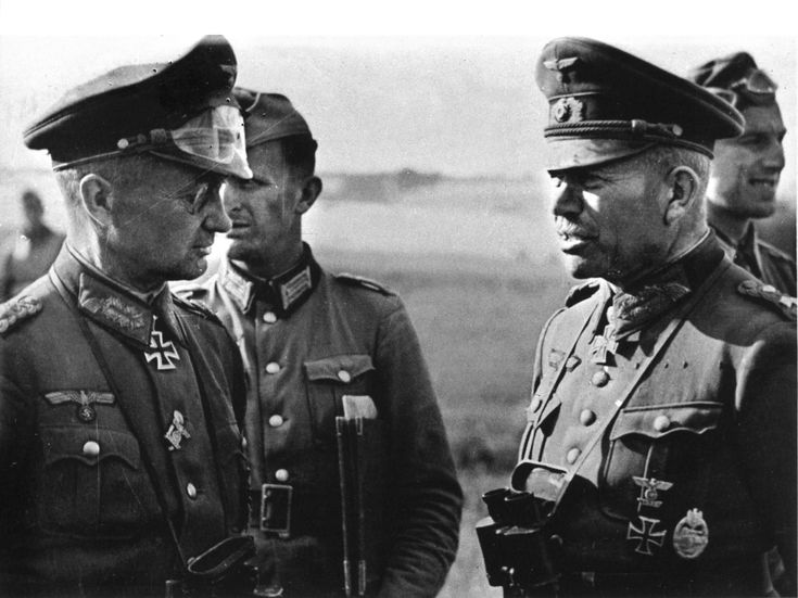 Generals Model (left) and Guderian confer during the opening phase of Barbarossa, Russia, summer 1941.