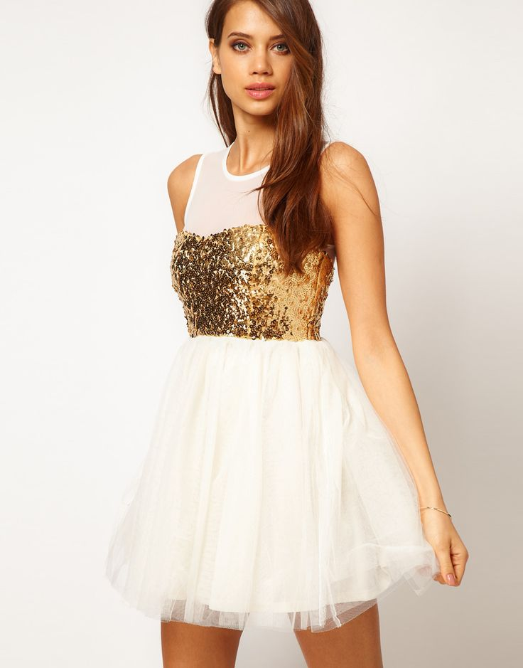 ASOS Party Dress with Sequin Bodice....switch out the gold for a different color