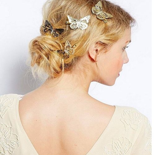 Women's Hollow Golden Color Butterfly Hair Clip Hairpin Bridal Hair Accessory - http://fashionfromchina.net/?product=women-s-hollow-golden-color-butterfly-hair-clip-hairpin-bridal-hair-accessory