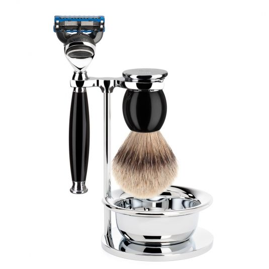Shaving set of MÜHLE, silvertip badger, with Gillette® FusionEMTM, handle material made of high-grade resin black