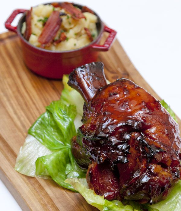 This beer-glazed ham hock recipe is certainly a sight for sore eyes, making a fantastic Sunday lunch option. The hocks are cooked in Meantime Pilsner, ginger and honey, before reducing the cooking liquor to make a sticky glaze for roasting.
