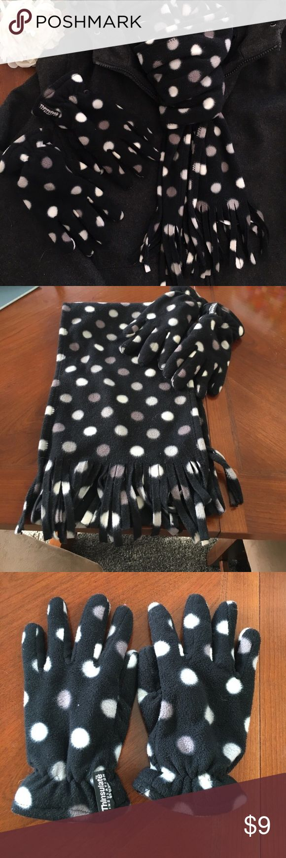 Thinsulate fleece scarf gloves set polka dot black This is a cute polka dot fleece scarf and gloves set by thinsulate in very good condition. Background is black, dots are grey and white. Smoke free dog friendly home. Thinsulate Accessories Gloves & Mittens