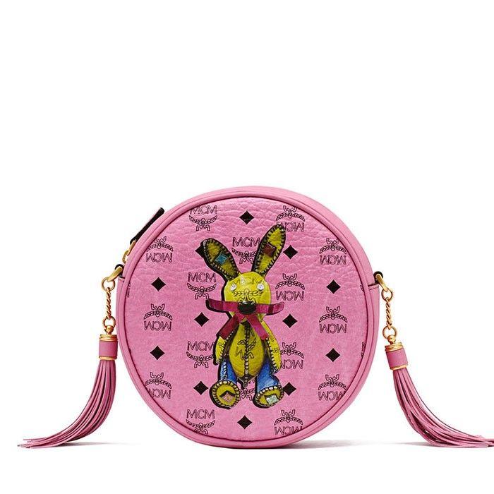 MCM Small Rabbit Tambourine Bag In Pink