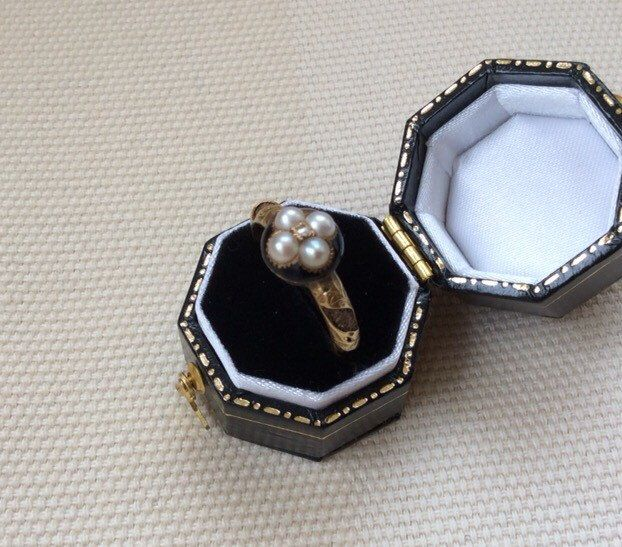 1879 Mourning Ring with Diamond and Pearls by In2pearls on Etsy https://www.etsy.com/listing/226078345/1879-mourning-ring-with-diamond-and