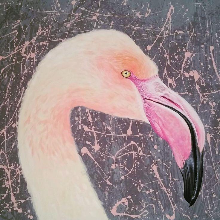 "acrilic ""Flamingo"" painting by Iulia Dinca"