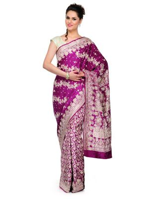 Magenta Jardozi embroidery satin Hand woven saree with blouse