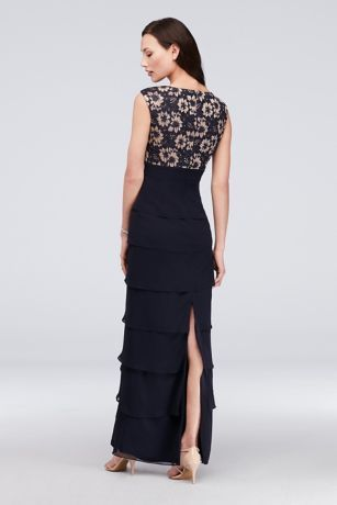 c4ff026b Lace and Tiered Chiffon Sheath Gown with Scarf Style JHDM6193, Navy ...