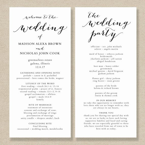 """This wedding program template is available for instant download as a .docx file. Edit with your own details in MS Word. Color editable. 4x9"""" and 4.25x11"""" versions are included. ***The background of the design is transparent – print on kraft card for a kraft background, print on white for a white background etc*** Please read the following details carefully before ordering: ====================..."""