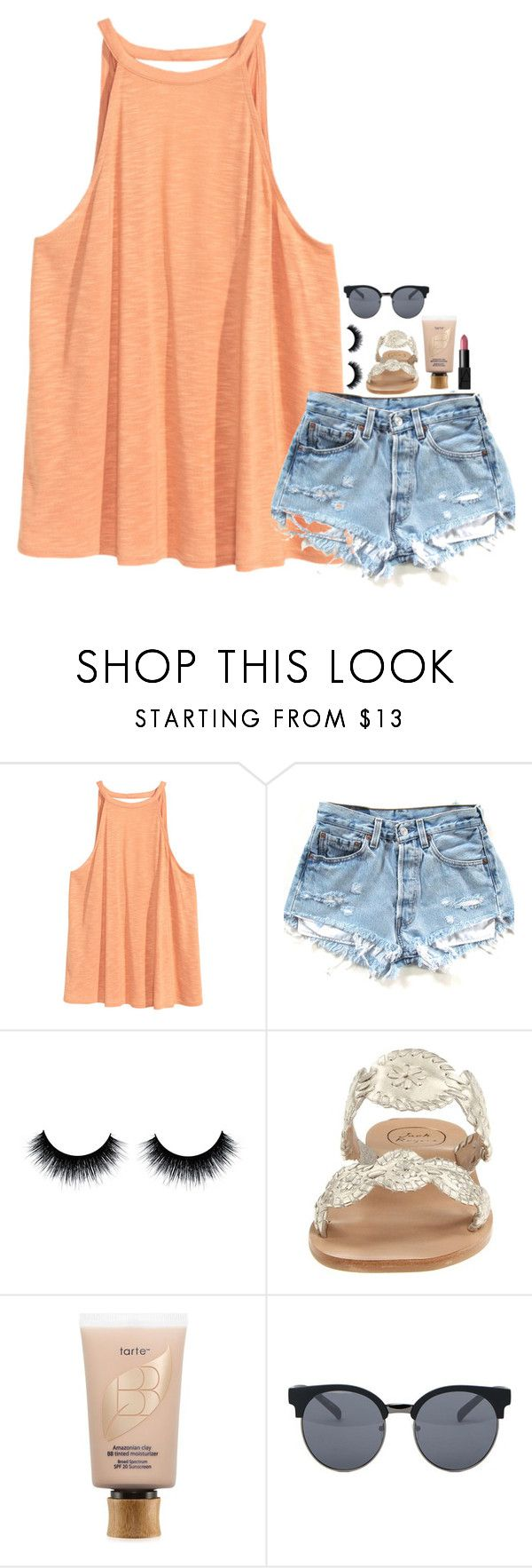 """""""Follow my main snapchat: sydthe_squidd"""" by mylifeassyd ❤ liked on Polyvore featuring H&M, Jack Rogers, tarte, Quay and NARS Cosmetics"""