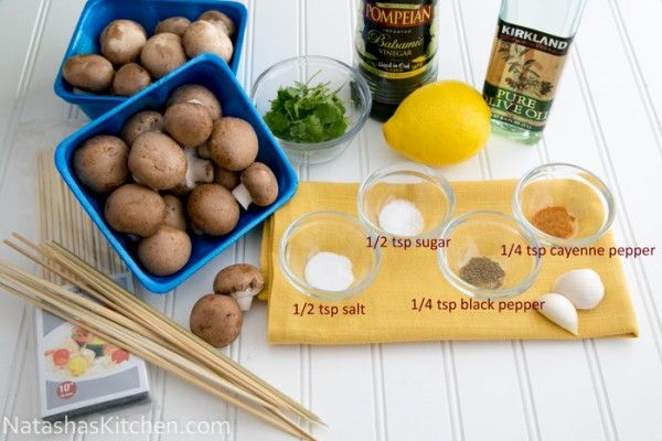 Ingredients for Grilled Portobello Mushrooms: 16 oz (1 lb) Baby Portabello Mushrooms (crimini or button work too) For the marinade:  1/4 cup olive oil 1/4 cup lemon juice small handful of parsley 1 tsp sugar 1 tsp salt 1/4 tsp pepper 1/4 tsp cayenne pepper 1-2 garlic cloves 1 Tbsp balsamic vinegar Marinate 30-45 min