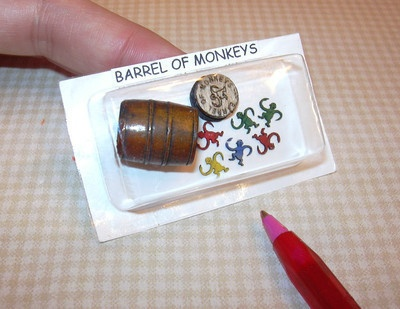 Miniature Barrel of Monkeys Game for DOLLHOUSE Toy Room 1/12 Scale