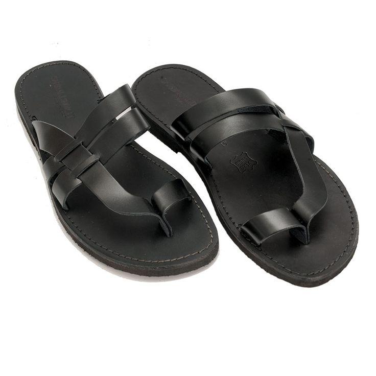 Sandalo etnico nero da uomo