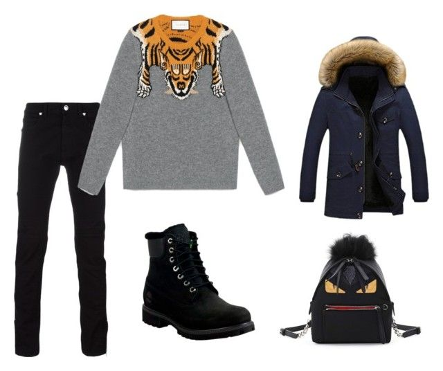 Untitled #100 by heta-makinen on Polyvore featuring Fendi, Versace, Gucci and Timberland