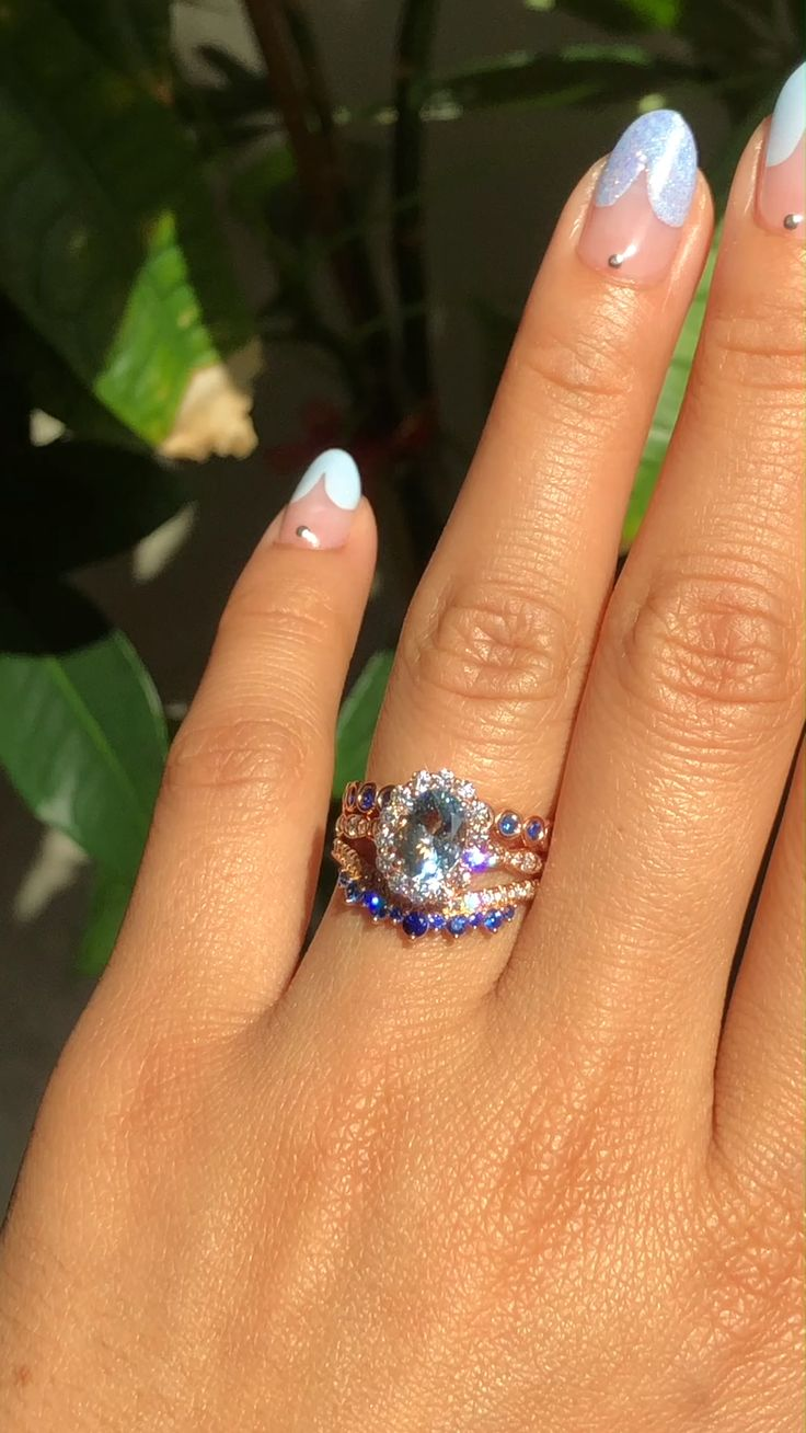 Hues of Blue Bridal Ring Set by La More Design