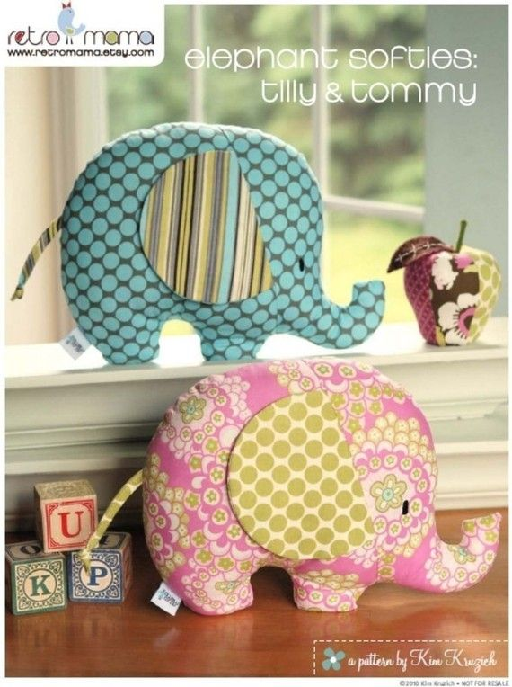 PDF Sewing Pattern Tilly and Tommy Elephant Softies por retromama