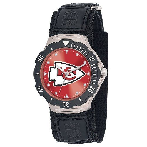 NFL Men's FDV-KC Agent Series Kansas City Chiefs Velcro Watch Game Time. $24.99. Rotating Bezel with Quartz Accuracy, Shock Resistant. Stainless Steel Case back. Adjustable Nylon strap with Velcro. Water Resistant Depth to 30 Meters. Limited Lifetime Warranty