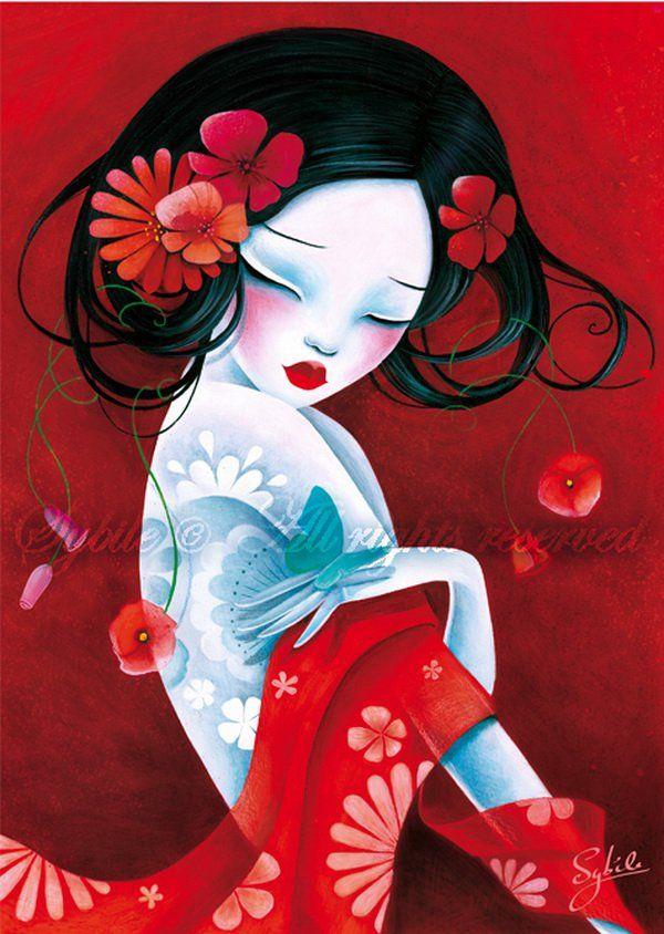 Slinky - Un fuerte ilustraciones de estilo asiático de Lady Sybile.  Sybile nació y vive en Bruselas, Bélgica.  Su técnica favorita, pintura acrílica sobre lienzo.