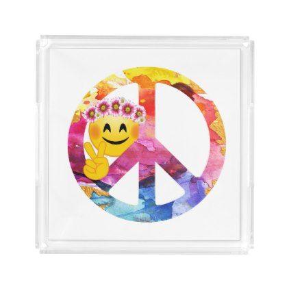 #Peace Sign Hippie Emoticon Watercolor Art Acrylic Tray - #emoji #emojis #smiley #smilies