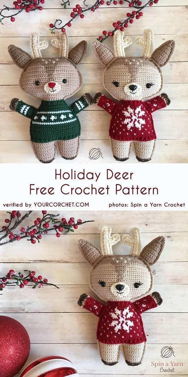 Holiday Deer Free Crochet Pattern | amigurumis | Ganchillo ...