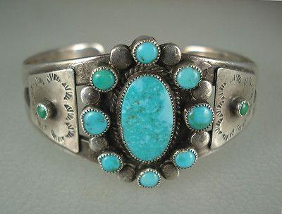 GR8 Old Fred Harvey Navajo Silver Satellite Turquoise Cluster Bracelet | eBay