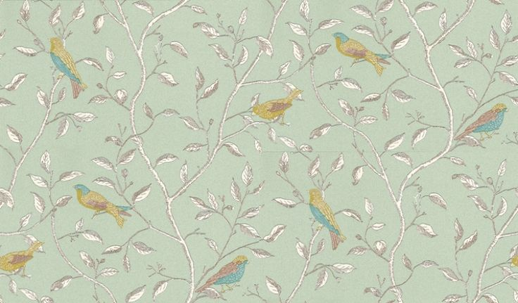Finches (DOPWFI103) - Sanderson Wallpapers - A fanciful design of brightly printed birds juxtaposed onto a monotone pen & ink drawing of delicate entwined branches.  Shown with yellow and blue birds on a duck egg background. Please ask for a sample for true colour match.