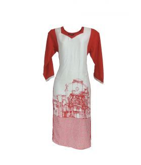 Women's Rayon Panel Print Kurta - (Red, White)