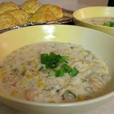 Seafood Chowder:  (3-18-15 sauted vegetables in butter/oil so they would cook better. Added celery. Added mushrooms. Made white sauce in pan with veggies in place of canned soup. Added 1/2 C Sherry. Used frozen corn. Used 2 cans clams w/liquor, shrimp, cuddle fish, bay scallops & crabmeat. Used Half n half instead of fat free milk. Can add white fish. Used half of Cheyenne called for.  Used sweet onion instead of green onion.  Very good and easy. Parmesan cheese added may be nice.)