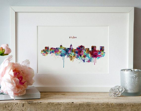 Madison Skyline Silhouette Wall art Watercolor by Artsyndrome