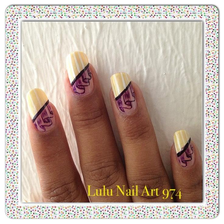 good nail art french en v jaune et blanche avec voilage violet fonc peinture acrylique with. Black Bedroom Furniture Sets. Home Design Ideas