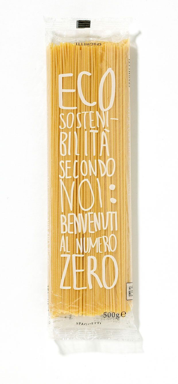 "Garofalo pasta's eco-sustainable packet with biodegradable wrapping for ""zero food miles"" spaghetti: ""Eco-sustainability according to us: welcome to the number zero"""