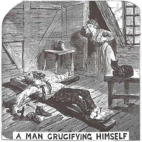 a man crucifying himself