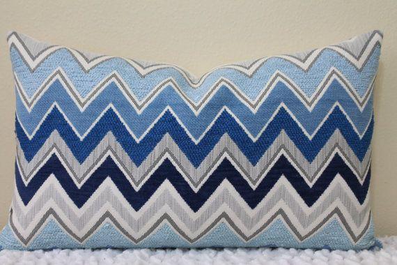 Zenyatta Mondatta Lumbar Sizes - Pillow Cover-F.Schumacher in Azure - Shades of Blue and Soft Grays