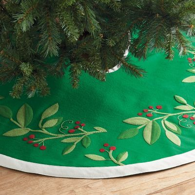 The Finishing Touch To Your Holiday Tree This Colorful Christmas Skirt Is Garlanded With Bright Holly Leaves And Berries Company Store