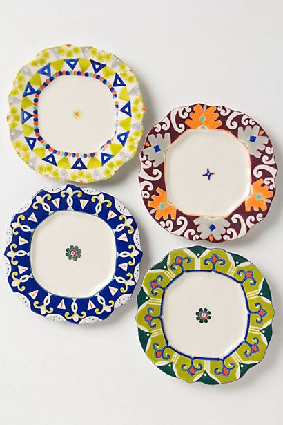 So fun for summer to mix with my fiestaware riika canape for Calligrapher canape plate anthropologie