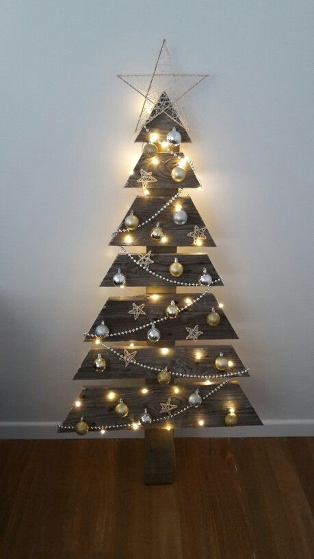 My pallet Christmas tree! Made with the help of my wonderful partner & a circular saw.  The baubles are stapled on with staple gun, and the stars (made from kebab sticks, string, and superglue) and string of beads are held in place with glue. I used copper wire seed lights (rather than normal fairy lights) as they are a bit daintier