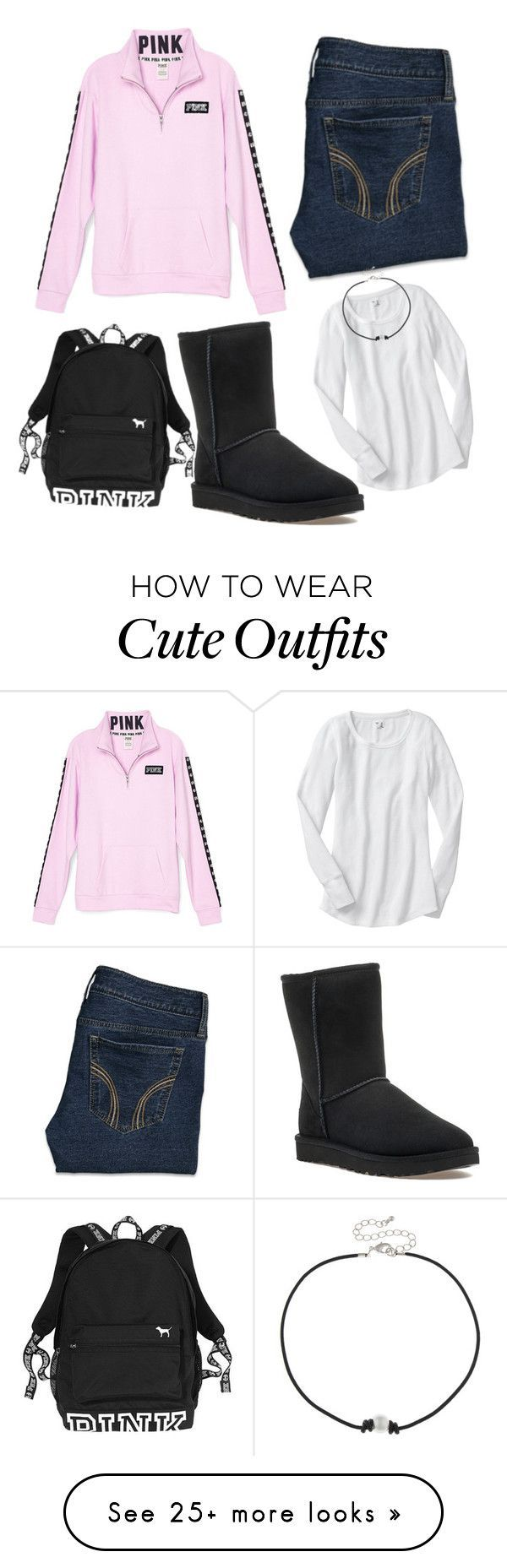 """Cute outfits for school"" by amiyafulton037 on Polyvore featuring Hollister Co., City Streets and UGG"