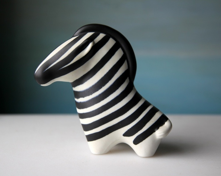 Vintage Arabia Zebra, 1963 Finland Black and White Pottery RESERVED for Maistr25. $190.00, via Etsy.