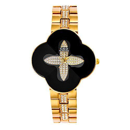 harwish Damen Stahl Armband Quarz mit Diamant Zifferblatt kreuzförmige Kleid Armbanduhren Schwarz - http://uhr.haus/harwish/harwish-damen-stahl-armband-quarz-mit-diamant-4