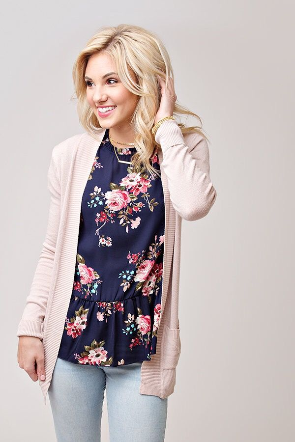 Floral peplum and blush cardigan. Perfect for Spring !