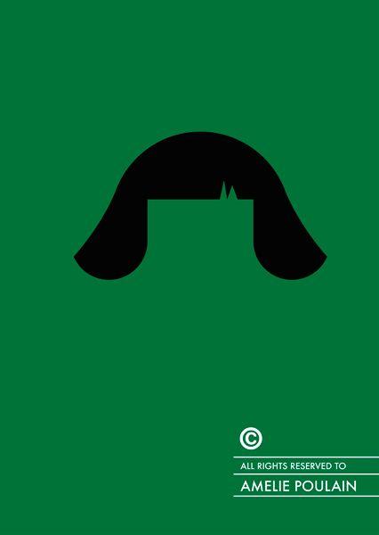 Amelie (2001) ~ Minimal Movie Poster by Patricia Povoa ~ Famous Hair Series #amusementphile
