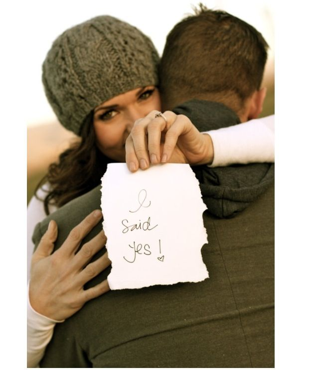 Cute save the date photo idea...this is so cute! Maybe with me holding a picture with the date?