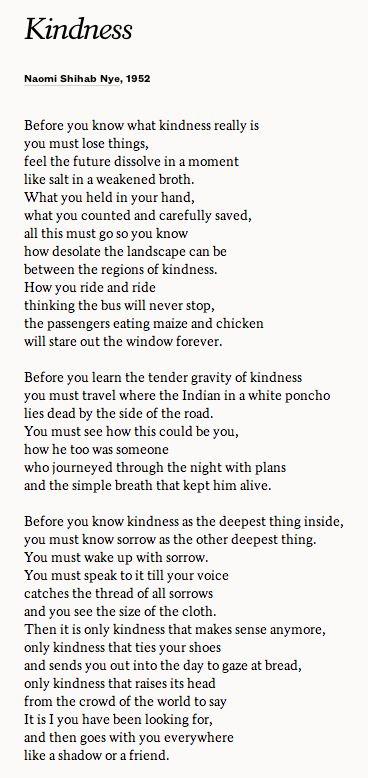 """""""Kindness"""" - Naomi Shihab Nye."""