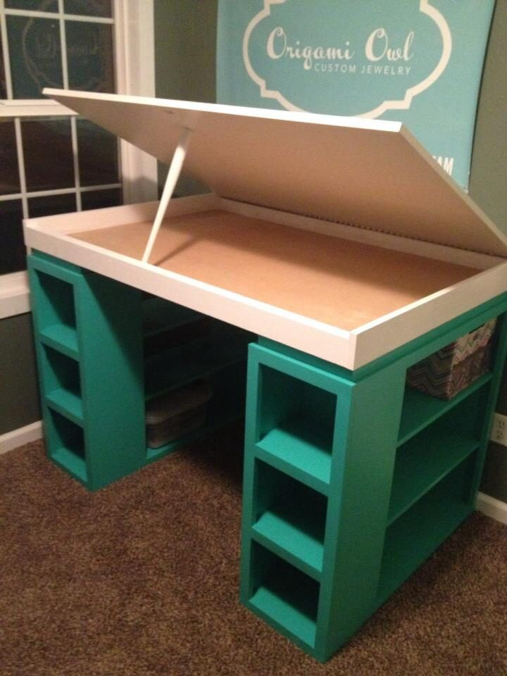 I love this twist on the modern craft desk!!!  Craft desk: I want this desk. It would be perfect for my polymer clay crafts.