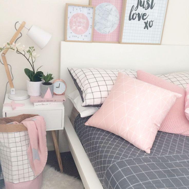 My bedroom. Pink, grid, timber, scandi, grey