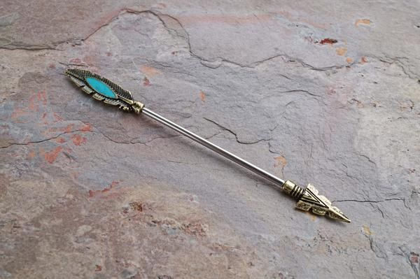 Arrow Turquoise Antique Gold Industrial Barbell Scaffold Piercing